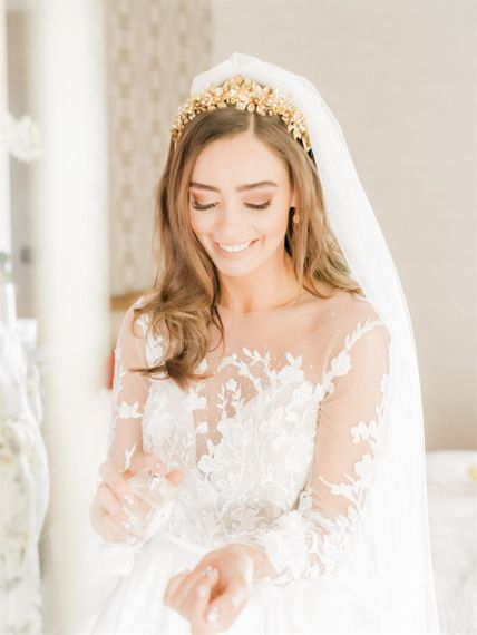 Bride In Lace Emma Beaumont Wedding Dress Putting On Perfume