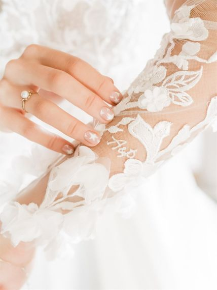 Personalised Embroidered Lace Sleeves On Wedding Dress