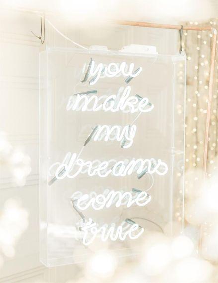You Make My Dreams Come True Neon Wedding Sign at Marble Wedding Cake Wedding