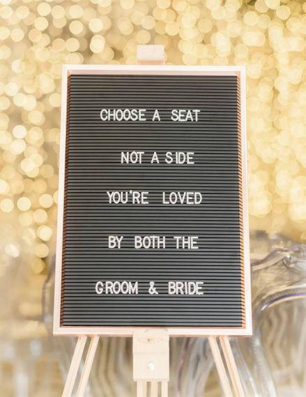 Peg Board Wedding Ceremony Sign at Marble Wedding Cake Wedding