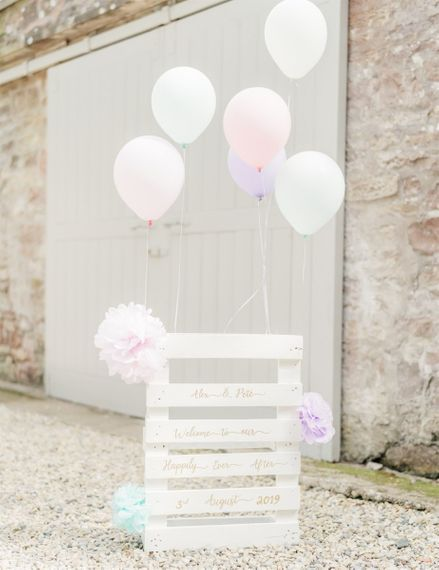DIY Wedding Palette Welcome Sign With Balloons and Pompoms