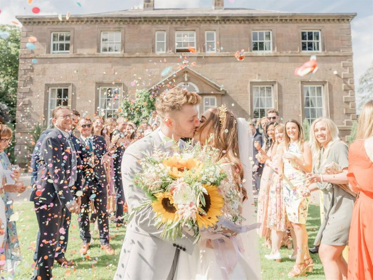Bride and Groom Confetti Exit At Charlton Hall
