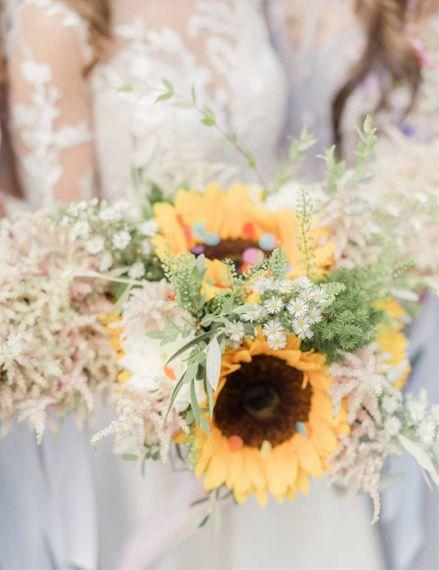 Sunflower Wedding Bouquet at Marble Wedding Cake Wedding