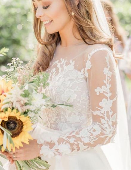 Embroidered Emma Beaumont Wedding Dress with Long Lace Sleeves