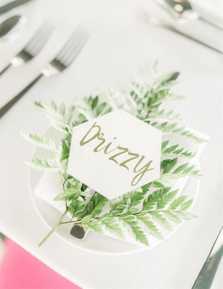Place Setting with DIY Marble Place Names on Large Fern