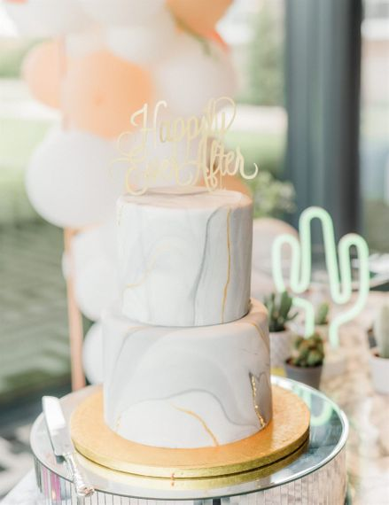 Two Tier Marble Wedding Cake With Happily Ever After Cake Topper