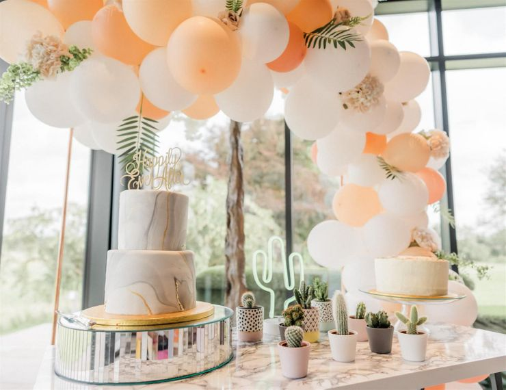 Cake Table with Balloon Arch, Succulents and Marble Wedding Cake