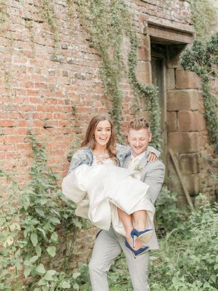 Groom Carries Bride In Her Blue Wedding Hangisi Wedding Shoes