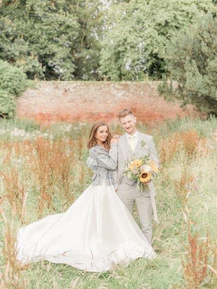 Bride Wears Denim Jacket Coverup