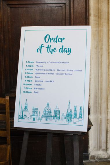 Oxford Skyline Order of The Day Wedding Sign