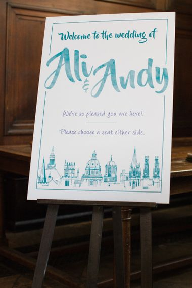 Oxford Skyline Welcome Wedding Sign