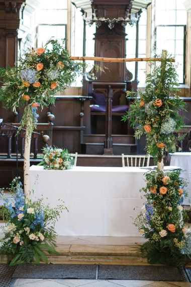 Altar Floral Arch with Coral and Blue Wedding Flowers