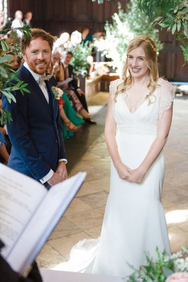 Wedding Ceremony with Bride in Sassi Holford Tamara Wedding Dress  and Groom in Navy Ted Baker Suit