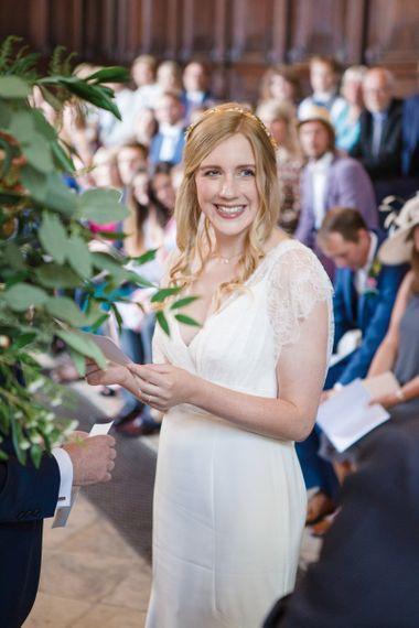 Smiling Bride in Sassi Holford Tamara Wedding Dress