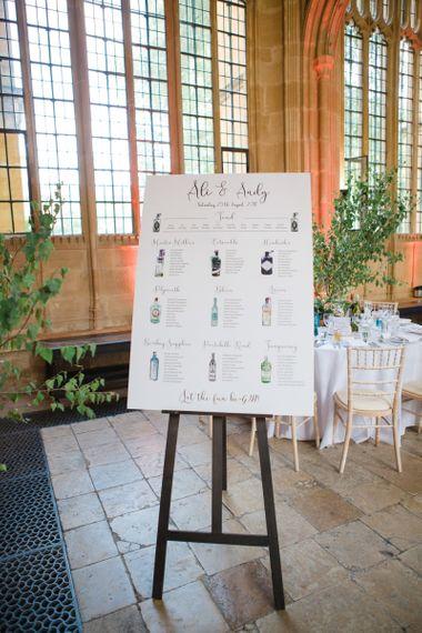 Gin Bottle Table Plan