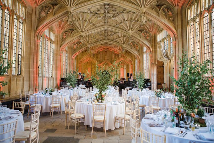 Oxford Bodleian Library Wedding Reception with  Plant Centrepieces