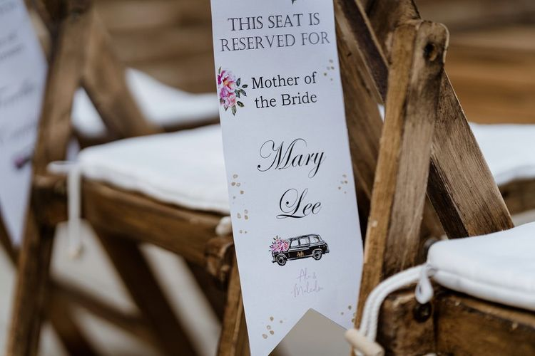 Personalised stationery to reserve a seat at outdoor ceremony
