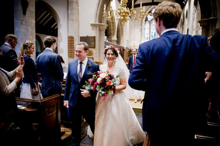 Autumnal Village Wedding with Deep Red & Blue Colour Scheme at Ramster Hall, Surrey | Watters Bridal Gown | Warehouse Bridesmaid Dresses | Navy Suit Supply Suits | Tony Hart Photo