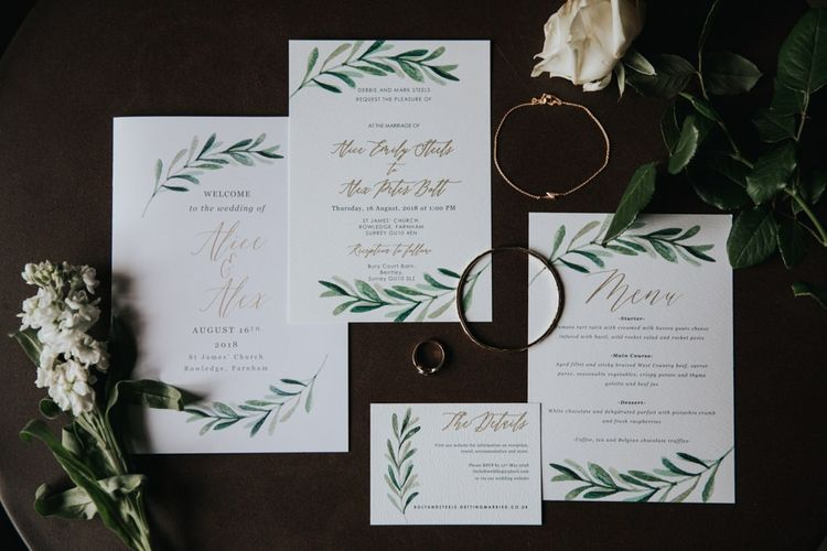 Wedding stationery for country wedding at Bury Court Barn