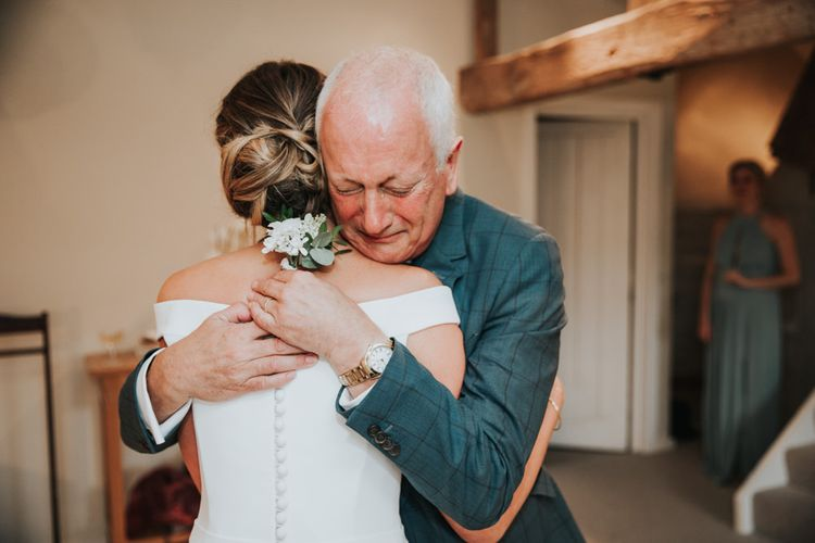 Emotional moment as father sees bride for the first time