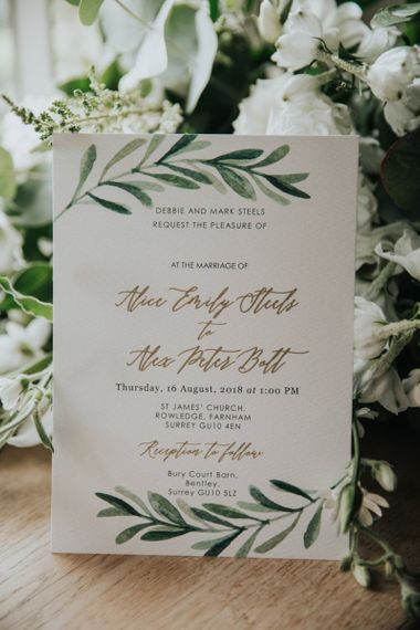 Wedding invitation at Bury Court Barn