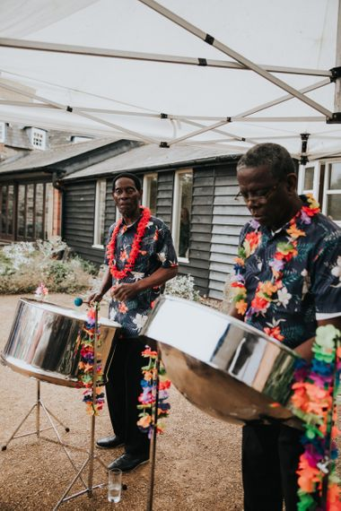 Steel band plays during drinks reception
