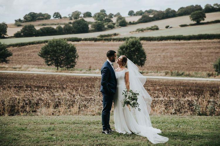 Bride and groom at Bury Court Barn wedding