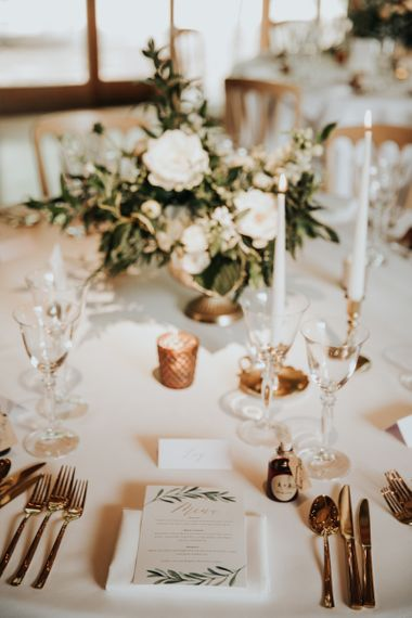 White, green and gold wedding table decor