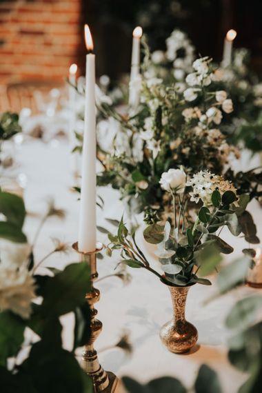 White wedding flowers at Bury Court Barn