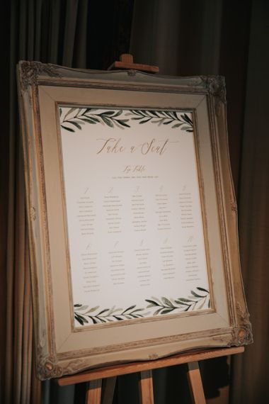 Framed wedding table seating plan