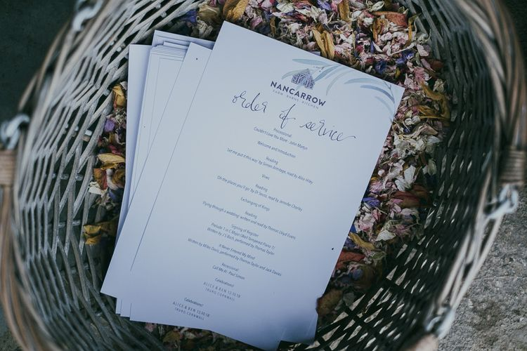 Order of Service Wedding Stationery in Confetti Basket