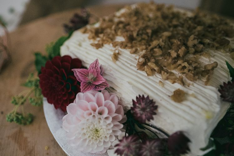 Carrot Cake Wedding Cake with Dahlia Wedding Flower Decor