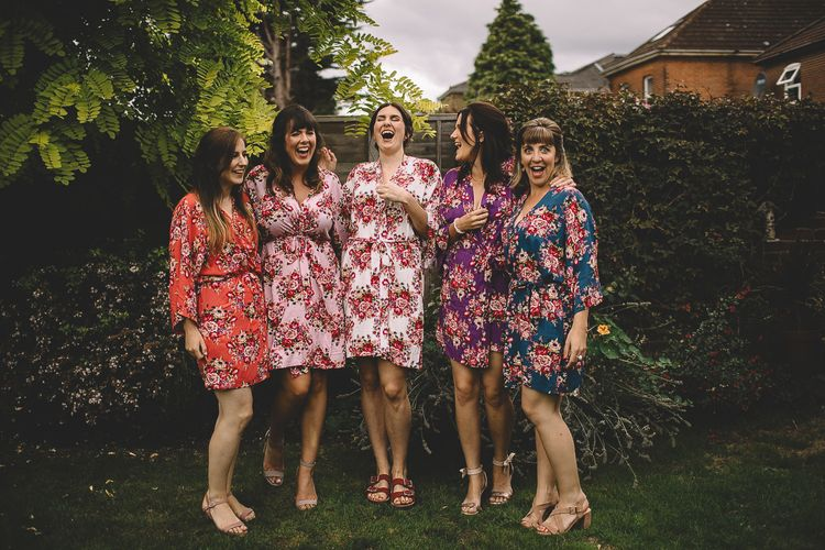 Bridal Party in Pink Floral Getting Ready Robes