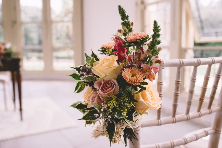 Aisle Chair Back Decor with White and Pink Roses