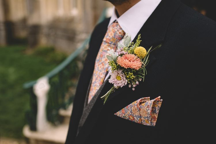 Pink and Lilac Groom's Buttonhole
