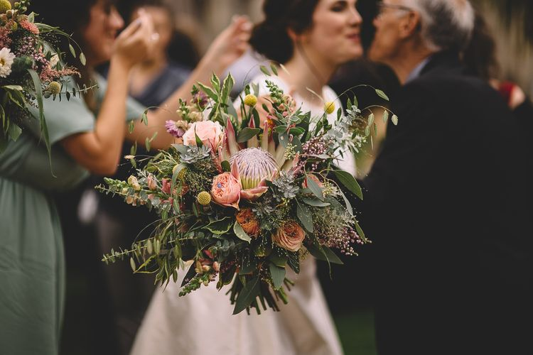 Pink King Protea Wedding Bouquet with Foliage