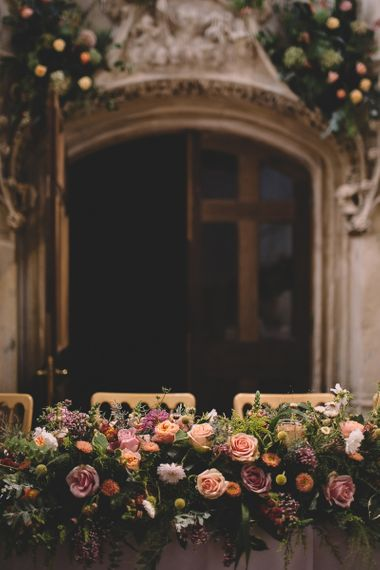Top Table Wedding Flowers with Pink, Peach and Yellow Roses