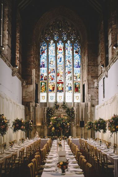 Wedding Reception at Highcliffe Castle with Stainglass Windows