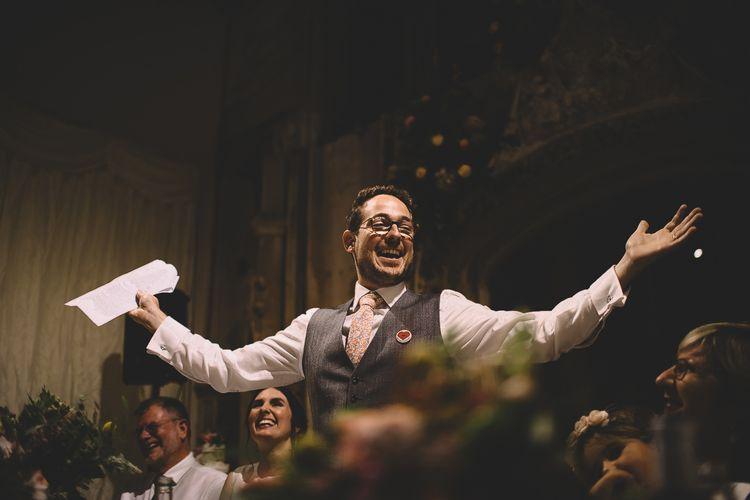 Groom in Dress2Kill Suit Giving His Wedding Speech