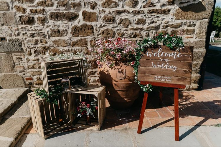 Wooden Welcome Sign and Rustic Crate Wedding Decor