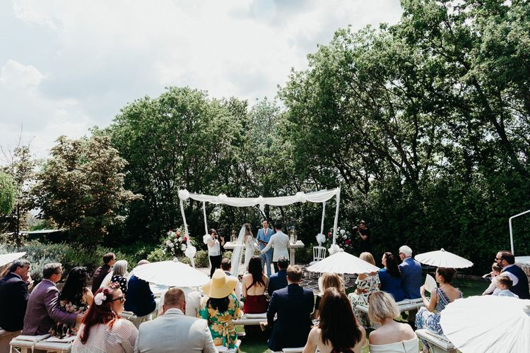 Outdoor Wedding in Umbria Ceremony Under a Drape Canopy