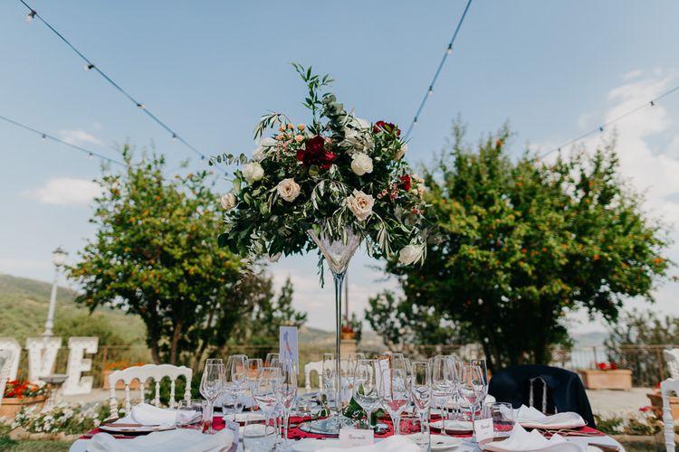 Tall Martini Glass Centrepiece Flower Arrangement