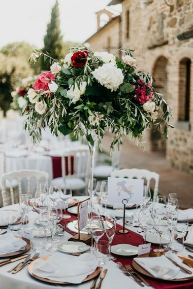 Tall Red, White and Green Wedding Flower Centrepiece