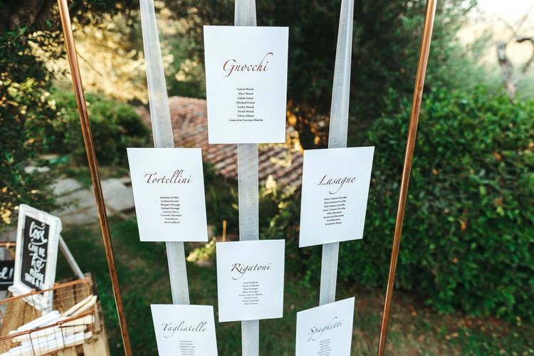 Copper Frame Seating Chart with Stationery Hanging on Ribbon