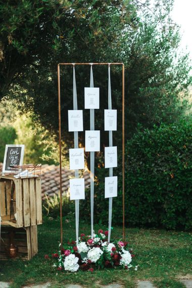 Copper Frame and Ribbon Table Plan Wedding Decor