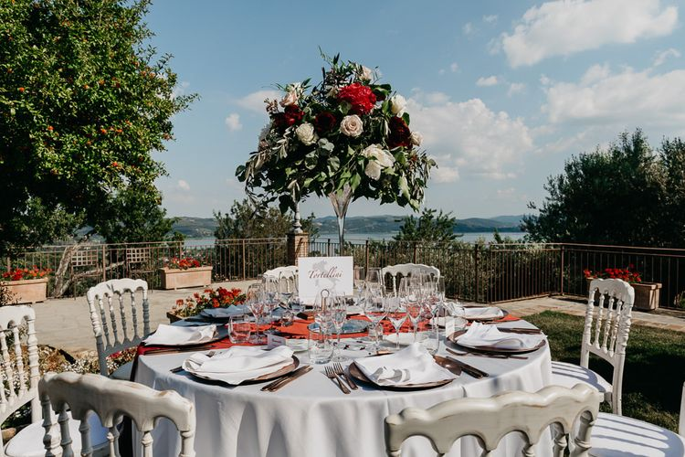 Outdoor Wedding in Umbria Table Decor