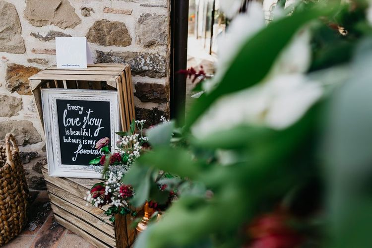Rustic Crate and Chalkboard Love Quote Wedding Decor