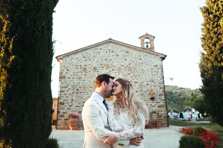 Bride and Groom Kissing at Their Wedding in Umbria, Italy
