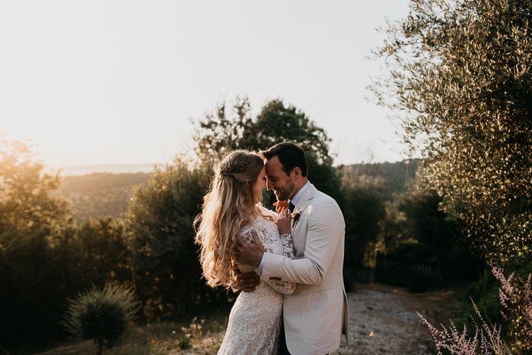 Romantic Golden Hour Portrait of Bride and Groom