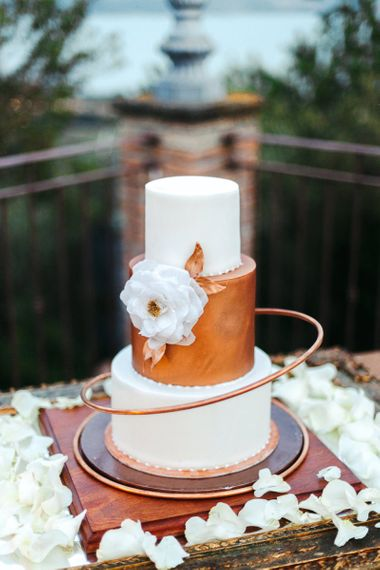 Stylish Wedding Cake with Copper Tier and Hoop Decor